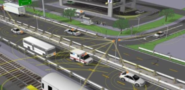 Vehicle-to-vehicle communication promises to prevent thousands of collisions and injuries annually, DOT and NHTSA believe. (Image downloaded from NHTSA August 2014 report)