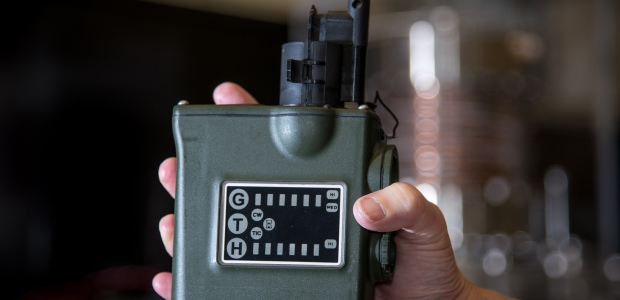 A Joint Chemical Agent Detector equipped with a threshold confidence checker in black, on top, is shown in this NIST photo by Jason Stoughton.