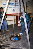 The tripod and winch module lets students conduct an equipment inspection and physically set up and take down a tripod and winch.
