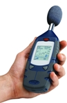 A sound-level meter, as shown in this Casella USA photo, is a hand-held device that allows a competent third party to take measurements at the ear of a worker with the instrument pointing at the noise source.