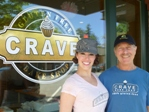 Kyra Bussanich, pastry chef at Crave Bake Shop, with columnist Robert Pater.