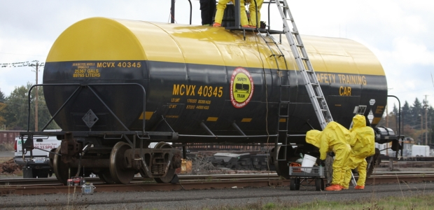 A spill from an overturned railcar or tanker could be from small amount to 5,500-11,000 gallons of liquid cargo. If this material is volatile, 1 cc of liquid (not pressurized) would be converted into 1L of vapor, and one gallon of liquid contains 3,800 cc (3.8 million liters of gas) X volume spilled. In many cases, the chemical spilled has been liquid chlorine or ammonia.