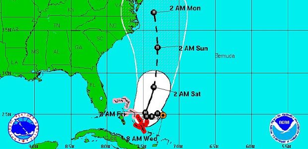 This graphic shows the NHC tropical cyclone track forecast cone and watches/warnings graphics issued for Hurricane Joaquin at 0800 EDT on Sept. 30, 2015, one day before the El Faro sank in the storm.