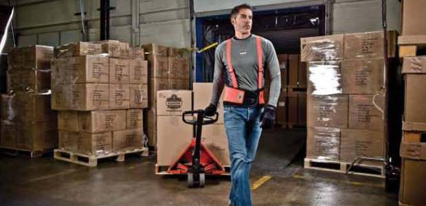 Back supports help a worker prepare for a lift and do it safely. (Ergodyne photo)