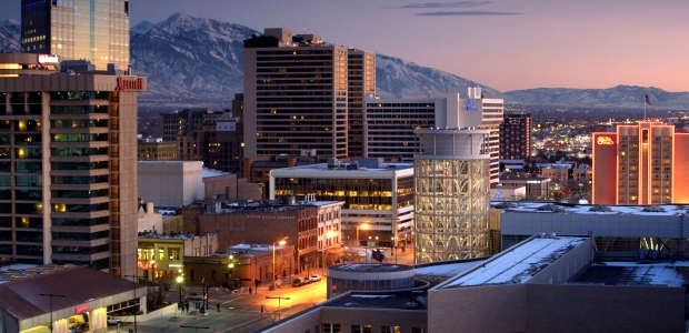 The Salt Lake City skyline at night. (Adam Barker/Visit Salt Lake photo)