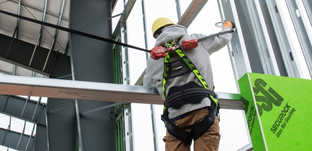 A personal fall arrest system should be designed and tested as a complete system because components from different manufacturers may not be interchangeable or compatible. (Miller Fall Protection by Honeywell photo)
