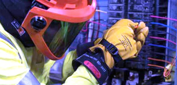 Gloves and other rubber insulating products must be permanently marked to indicate the voltage class, and the gloves and sleeves must also have a color-coded label identifying the voltage class. (Saf-T-Gard International, Inc. photo)