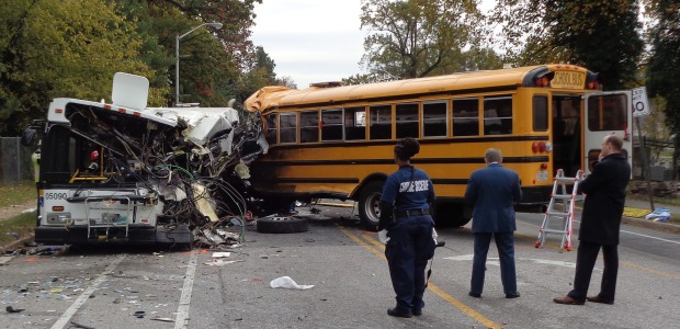 This photo shows the final position of the transit bus and the school bus. (Maryland Transportation Authority Police photo)