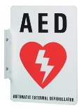An AED sign.