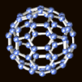 A 3D image of a buckyball nanoparticle.