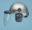 a protective helmet/faceshield with hearing protection included