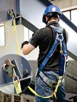 a worker equipped with compatible fall protection connections