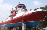 The 140-foot Three Forty Three, to be delivered to FDNY in December, is the largest fireboat in the country.