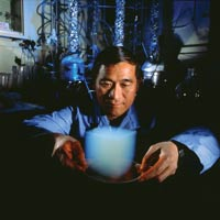 scientist with aerogel