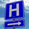 A image of a blue hospital sign.