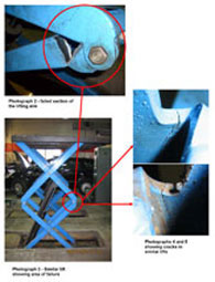 Another photogrph from the HSE alert shows where the cracks occurred in the lifting arms of the scissor lift.