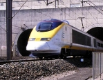 This Eurotunnel photo shows the Eurostar train exiting the Channel Tunnel in France.