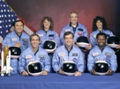 This NASA photo shows the astronauts who died in the Challenger explosion: Ellison Onizuka, Mike Smith, Christa McAuliffe, Dick Scobee, Greg Jarvis, Judith Resnik, and Ron McNair.