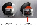 The STIHL recall notice includes this photo showing, on the right, the location of the molded identifier mark on the lever of the fuel cap.