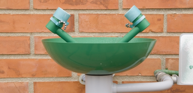 Recessed and wall-mounted safety equipment is very appropriate in laboratory specifications. It's both highly visible and completely out of the way.