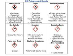 These pictograms must be used if the material is hazardous to health or presents a physical hazard.