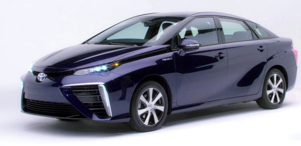 The Toyota Mirai is equipped with a nickel metal hydride hybrid battery, two carbon fiber-reinforced hydrogen tanks with safety shut-off valves, and a hydrogen monitoring system with leak detection sensors. (Toyota photo)