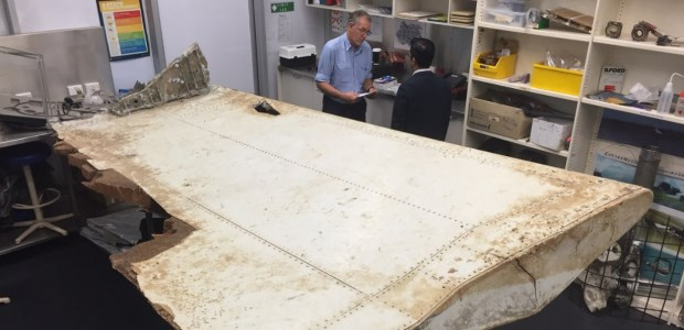 Malaysian and Australian investigators examined a piece of MH370 aircraft debris found on Pemba Island off the coast of Tanzania in this ATSB file photo.