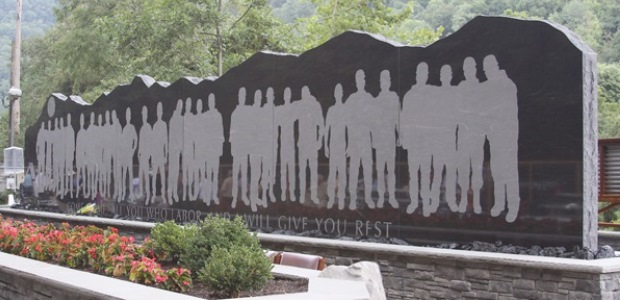 This memorial wall was erected to honor the 29 miners who died in the Upper Big Branch Mine South explosion on April 5, 2010. (MSHA photo)