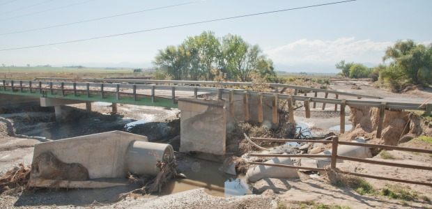 September 2013 flooding damaged a bridge in Longmont, Colo., shown in this photo by Patsy Lynch/FEMA.