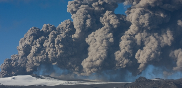 In April 2010, Eyjafjallajökull in Iceland spews huge clouds of ash that were blown across Europe, disrupting air travel.