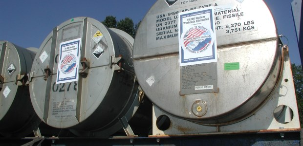 Cylinders are delivered to a USEC facility as part of the Megatons to Megawatts program. (USEC photo)