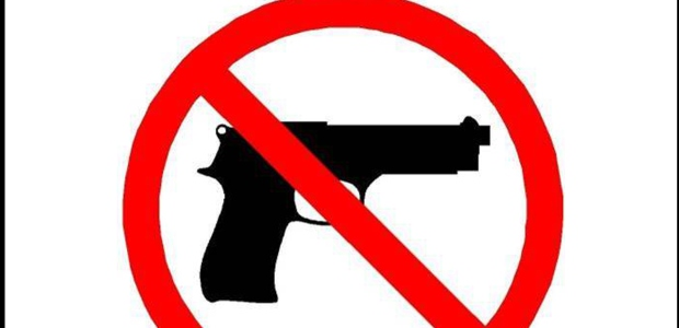 "The sign indicating that carrying firearms is prohibited must be displayed at the entrance of ""statutorily prohibited areas,"" including schools, hospitals, and sports stadiums. (Illinois State Police graphic)"