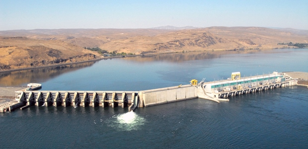 The Wanapum Dam is downstream from the Vantage Bridge, which is the Interstate 90 crossing over the Columbia River in Washington state. (Grant County Public Utility District photo)