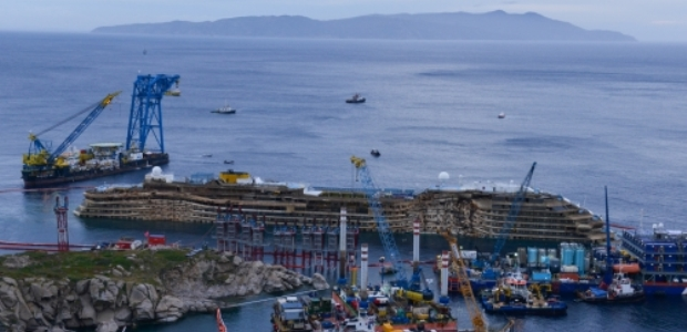 The uprighted Costa Concordia wreck awaits refloating and being moved to the port of Genoa. (The Parbuckling Project photo)
