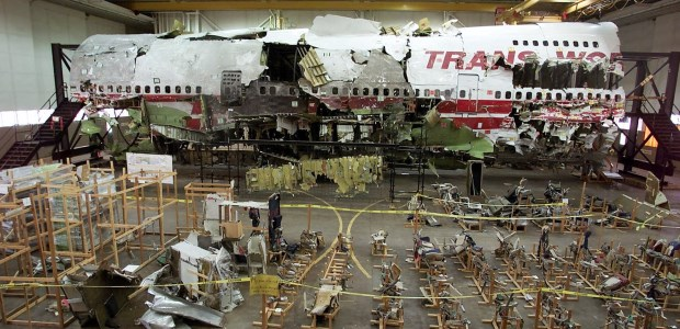 Investigators pieced together the remains of the B747 after the aircraft crashed. NTSB