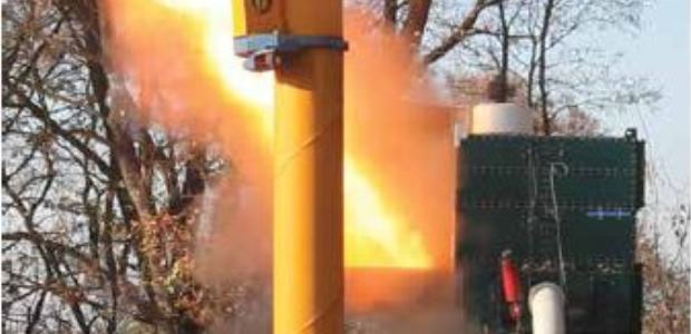 A staged explosion is used to test a dust collector