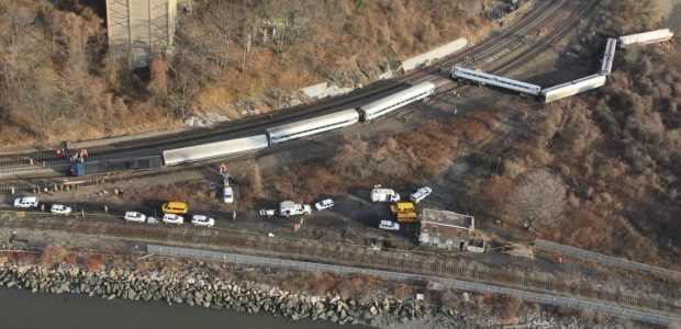 The safety board determined that the engineer of this Metro-North Railroad train fell asleep and exceeded the posted speed limit in this curve. (NTSB image)