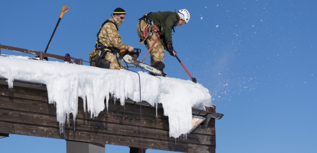 Fall hazards are a prime concern for workers who are on rooftops to remove snow, according to OSHA