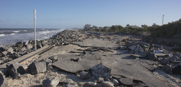 This photo shows extensive damage to the old A1A highway in Florida from Hurricane Matthew in October 2016.