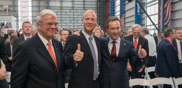 Airbus officials participating in the opening ceremony were (from left to right): Airbus Group, Inc. Chairman and CEO Allan McArtor, Airbus Group CEO Tom Enders, and Airbus President and CEO Fabrice Brégier.