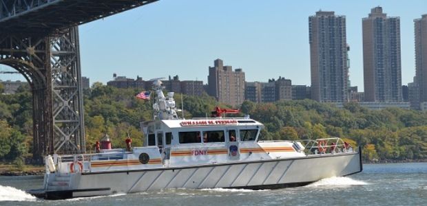 The William M. Feehan is a 66-foot long, jet-propelled fireboat named for FDNY First Commissioner William M. Feehan, who died during the World Trade Center response on Sept. 11, 2001. (FDNY photo)