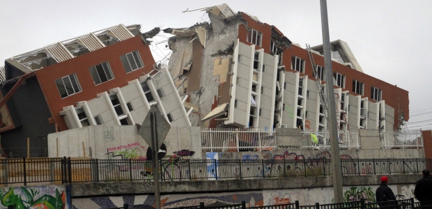 An 8.8 magnitude earthquake on Feb. 27, 2010, destroyed this building in Concepcion, Chile.