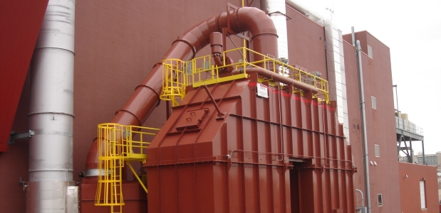 This 40,000 SCFM Regenerative Thermal Oxidizer was applied on a pharmaceutical application to destroy emissions from tray ovens, fluid bed dryers, and coating pans. (Anguil Environmental Systems photo)