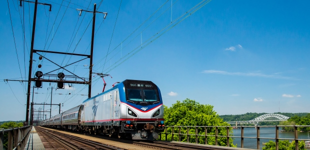This Amtrak photo shows one of its trains traveling along the Northeast Corridor. (Amtrak photo by Chuck Gomez)