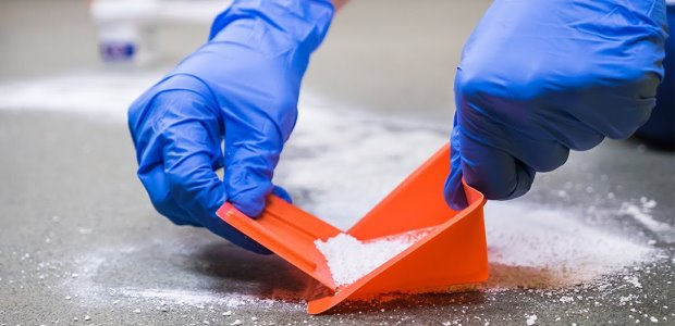 Sweep up any debris caused by the spill or the cleanup operation and dispose of it properly. It is advisable for workers to wear masks during any sweep-up operations involving a spill.