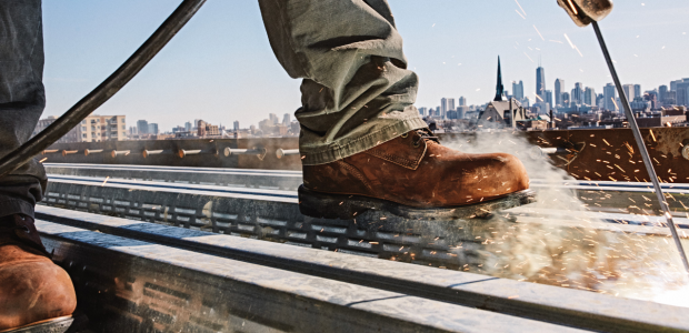 When toe protection is needed, a safer approach for everyone in an industrial setting is to wear ASTM F2413-17 conforming shoes. (Red Wing Shoe Company photo)