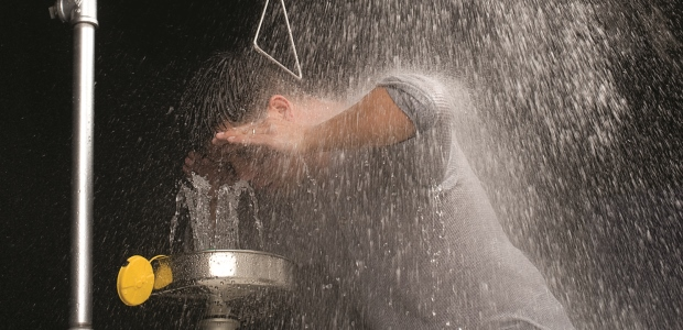 Excessively hot or cold water temperatures in safety showers and eyewashes can exacerbate the very injuries the safety equipment is designed to reduce. (Haws Corporation photo)