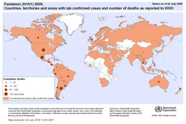 July 27, 2009, World Health Organization map of H1N1 confirmed cases worldwide