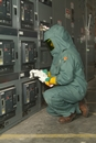 Workers exposed to conditions that pose a risk for serious, sometimes fatal injuries from arc flash require proper FR garments while in the danger zone. (Square D Services photo)