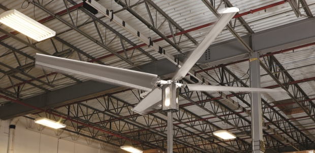 HVLS fans move larger volumes of air while using less energy than high-speed fans and produce a less disruptive wind speed. (Rite-Hite Fans photo)